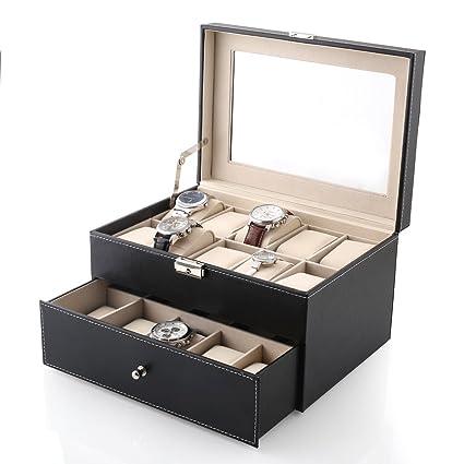 MVPOWER Caja para Relojes Estuche para Guardar Relojes Expositor de Relojes Caja de Almacenamiento de Relojes Organizador para Relojes (Beige, 5 x 4)