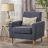 Stratford Mid Century Modern Dark Blue Fabric Club Chair