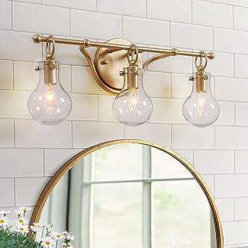 Ksana Gold Bathroom Light Fixtures 3 Light Vanity Light Fixtures With Clear Glass Amazon Com