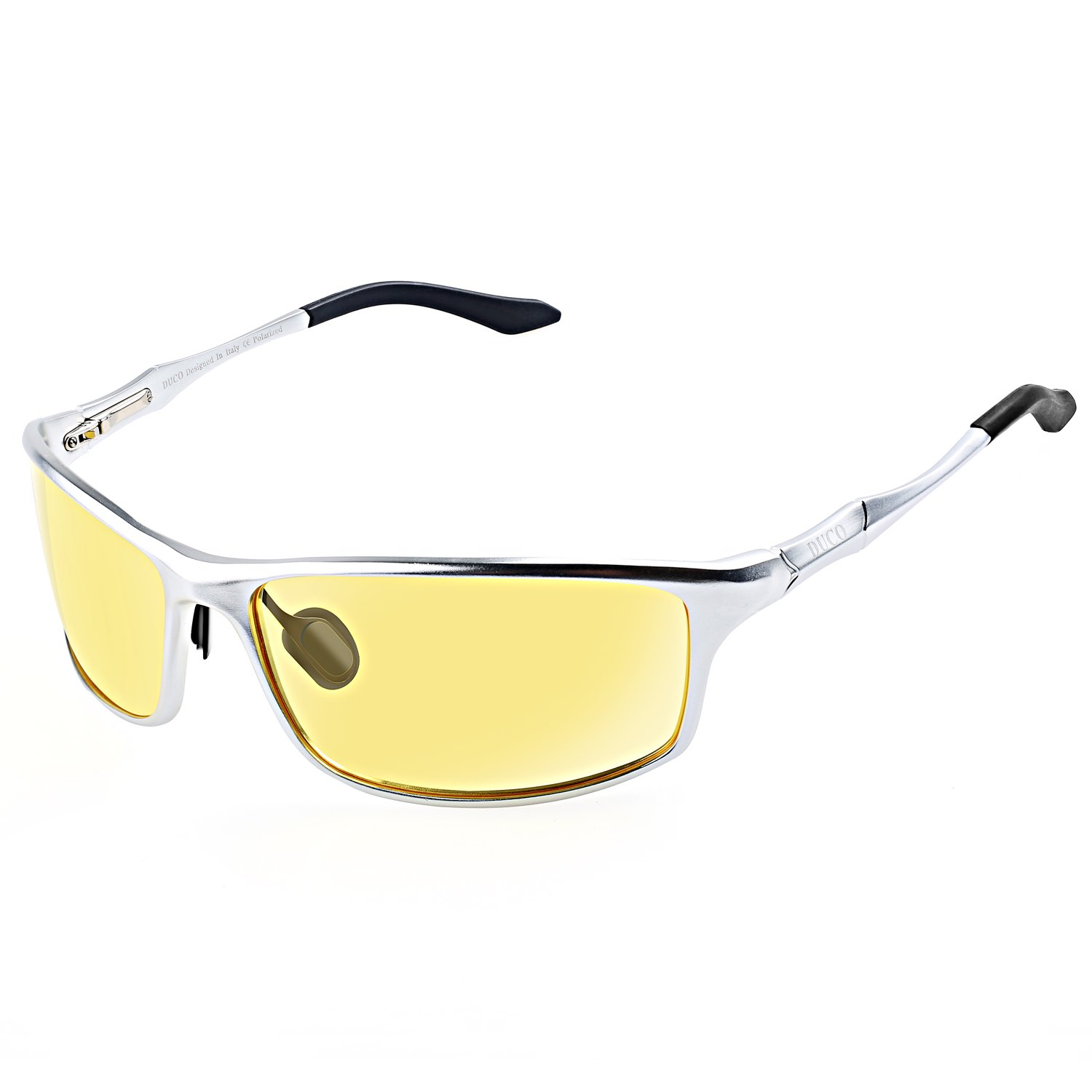 Duco Night vision Driving Glasses for Headlight Driver Glasses 8201 (Silver Frame Yellow Lens)