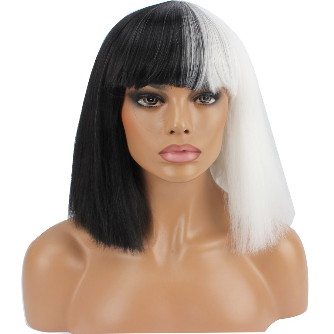 WeKen Halloween Wig Women Short Bob Kinky Straight Full Bangs Synthetic Black and White by WeKen