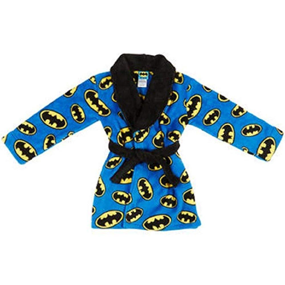 Bathrobe Batman Boys Blue Logo Print Super Hero Fleece Bath Robe