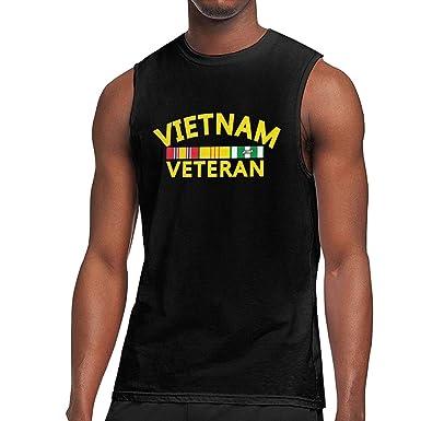 e6e875b4 YUFFD Fashion Sleeveless T-Shirt Vietnam Veteran Cotton Round Neck Shirt  for Men