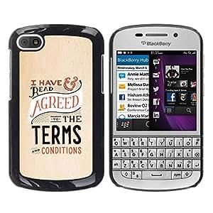rígido protector delgado Shell Prima Delgada Casa Carcasa Funda Case Bandera Cover Armor para BlackBerry Q10 /Terms Conditions Lawyer Funny Law/ STRONG