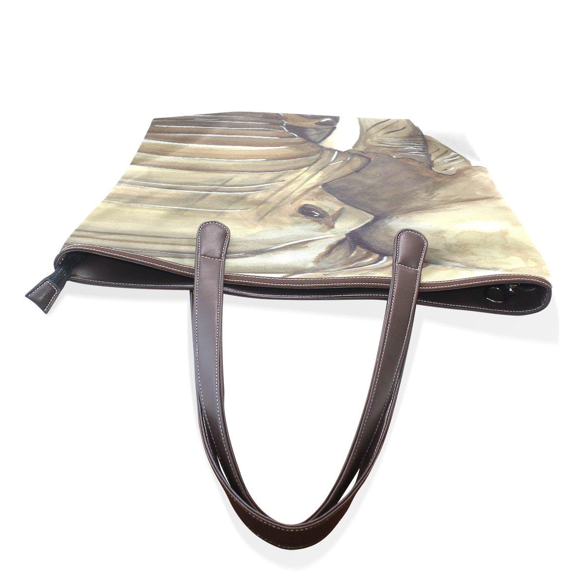SCDS Abstract The Elephant PU Leather Lady Handbag Tote Bag Zipper Shoulder Bag
