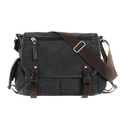 d28c95fcf4 Fashion Casual Student Bag Shoulder Bag Canvas Men Shoulder Messenger Bag  Black