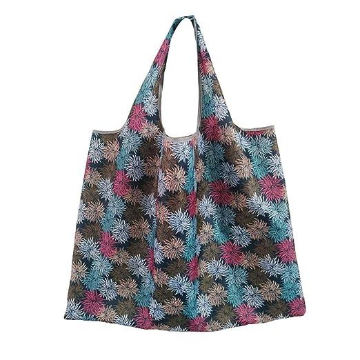 WDOIT Bolsa de la compra de tela de flores plegable bolsa de ...