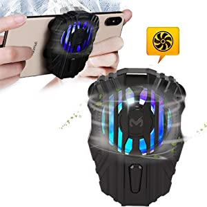 picK-me Cell Phone Cooler, Mobile Phone Radiator for Playing Games Watching Videos, 3 Gear Wind Speed, LED Light, Cooler Controller Compatible for Universal iPhone/Android Smartphone