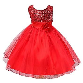 Vestido de Princesa para Niña de Boda Noche Fiesta Rojo 100CM