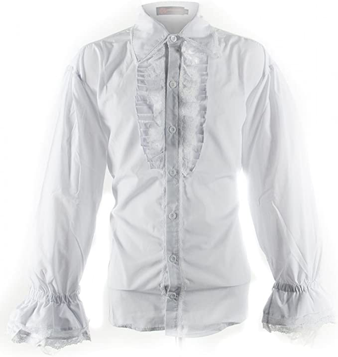 viktorianisch Gótico Camisa blanca con Chorrera extra-large: Amazon.es: Juguetes y juegos