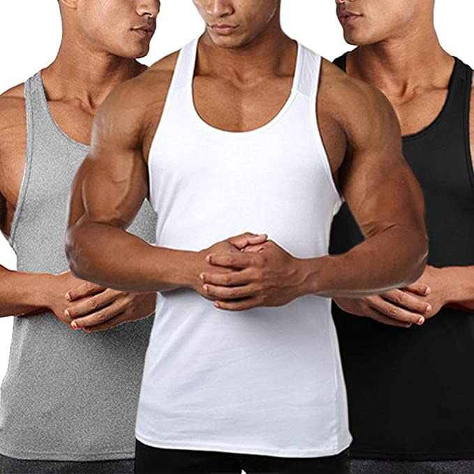 AGUTIUN Mens 3 Pack /& 1Pack Gym Tank Tops Muscle Sleeveless Workout Tee Bodybuilding Fitness Shirts
