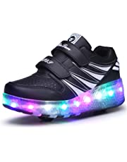 Kids Led Roller Shoes Double Wheels Retractable Skateboarding Rollerblades Unisex Pulley Shoes Gymnastic Sneakers