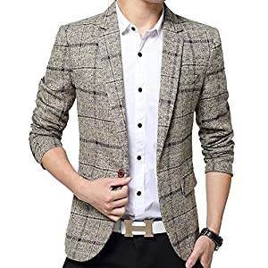 S&S Mens Slim Fit Plaid Casual One Button Blazer Sport Suits Tuxedo Jacket