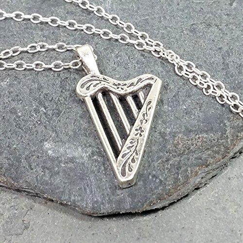 (Celtic Harp Necklace - 925 Sterling Silver )