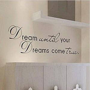 Picniva Black 10'' X 40'' Dream Until Your Dreams Come True Wall Famous PVC Wall Sticker Decal Quote Art Vinyl