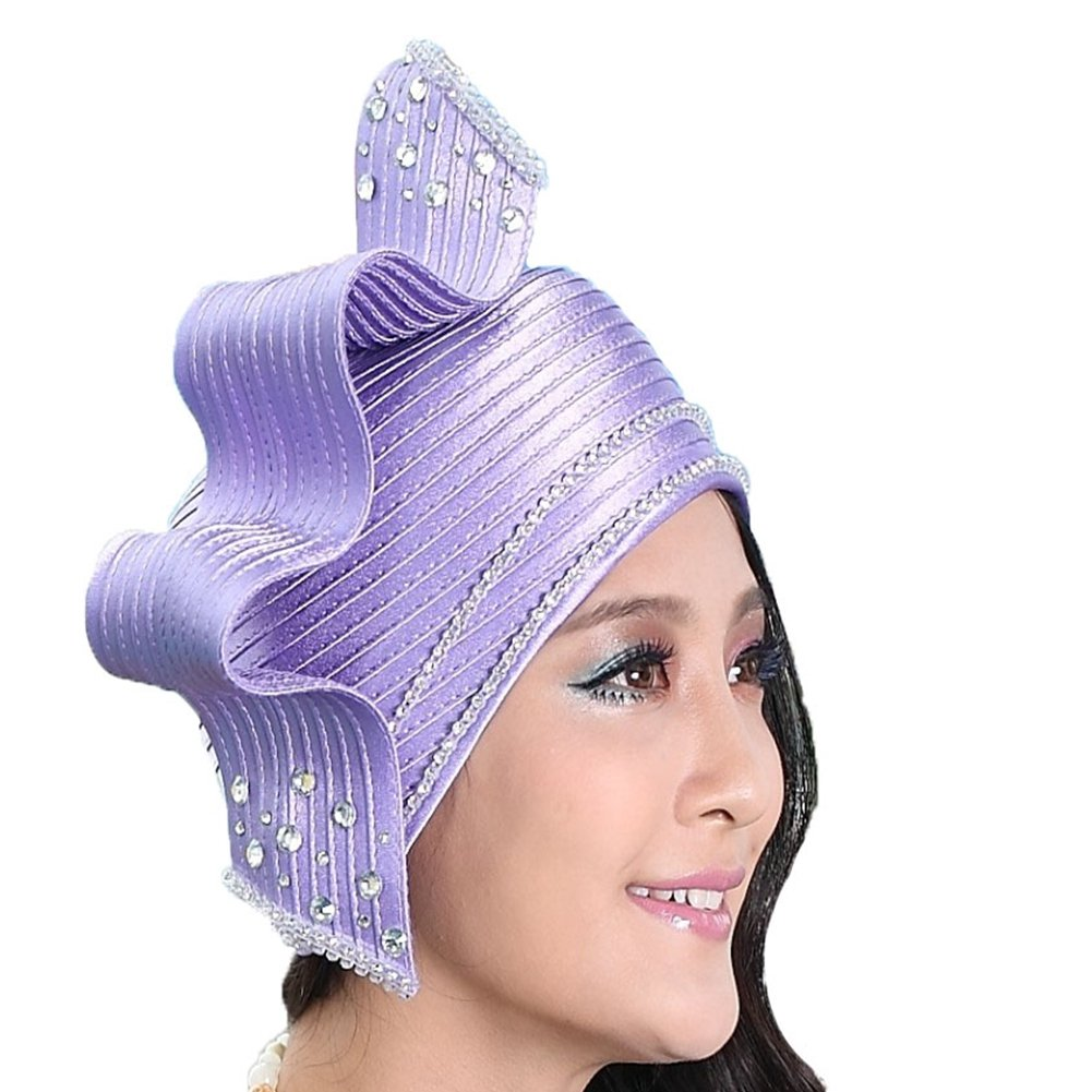 June's Young Fashion Church Hat for Women Satin Hat Bucket Cloche Hat (Lavander)