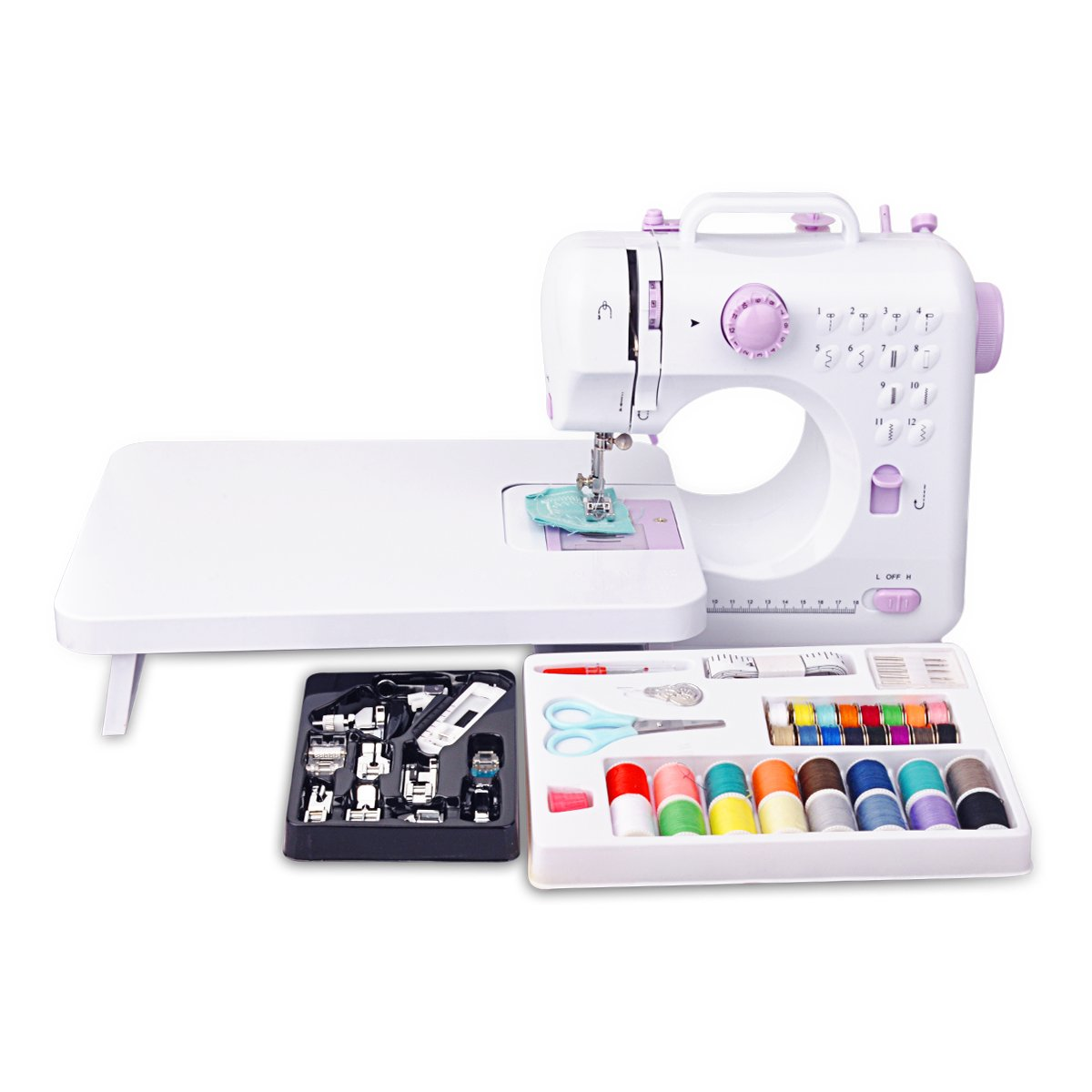 Congerate 12 Stitches Mini Electric Sewing Machine Multifunction Household Double Thread Double Speed with 11pcs Presser Foot Set And 42-in-1 Sewing Tools Kit Needlework Box Set And Extension Table CongerateDirect VJ-SW-0003