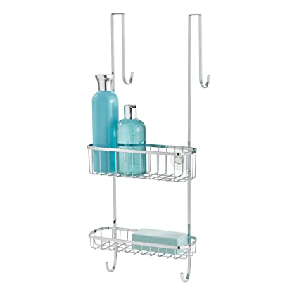 0d89411bcf793 Amazon.com: InterDesign Gia Over Shower Door Caddy - Bathroom Storage  Shelves for Shampoo, Conditioner and Soap, Polished Stainless Steel: Home &  Kitchen