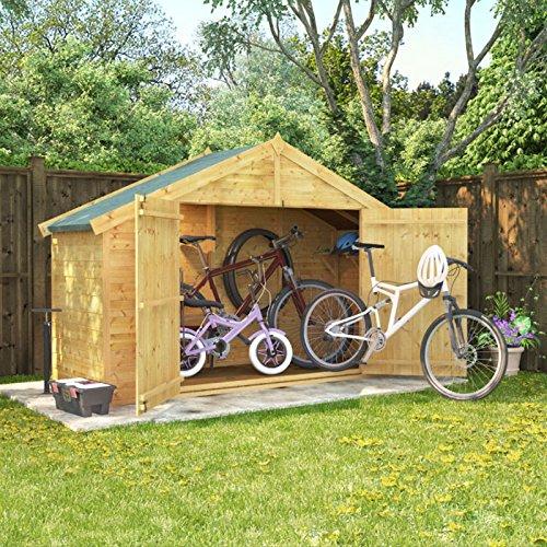 3x8 Overlap Wooden Apex Bike Log Storage Double Door Roof Felt Store Shed 3ftx8ft BillyOh 26084