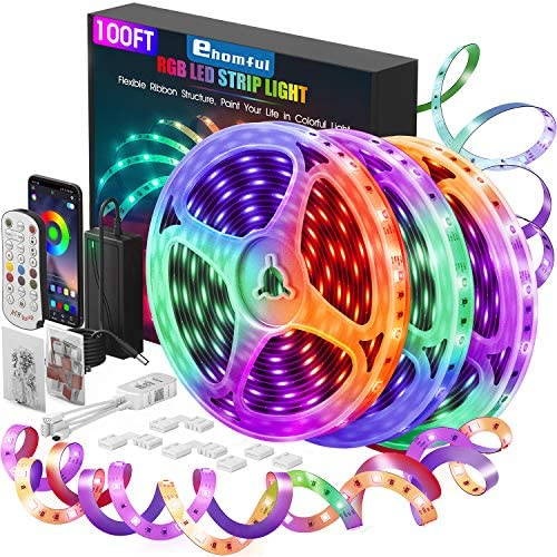 100Ft Smart LED Strip Lights Bluetooth Hedynshine Dimmable Color Changing by ...