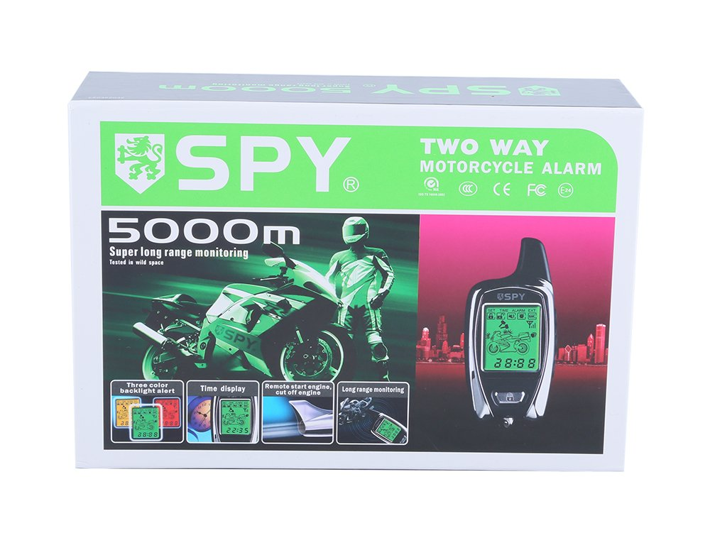 SPY 5000m 2 Way LCD Motorcycle Alarm System with Remote Engine Start Starter and Microwave Sensor by Spy: Amazon.es: Coche y moto