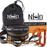 HangTight Hammock Straps & Carabiners - 10 Ft Long, Extra Strong & Lightweight, 2200 LBS Breaking Strength, No Stretch Polyester, 16 Loops, Tree Friendly. Best Suspension System For Quick & Easy Setup