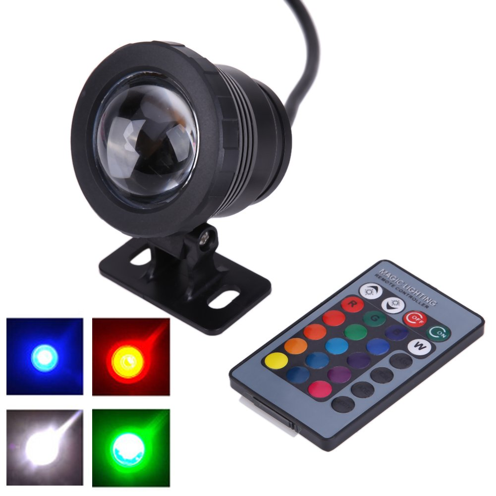Whitelotous Remote Control 10W 12V 16 Colors Water Resistant RGB LED Underwater Light Lamp for Landscape Fountain Pond Lighting (Black)