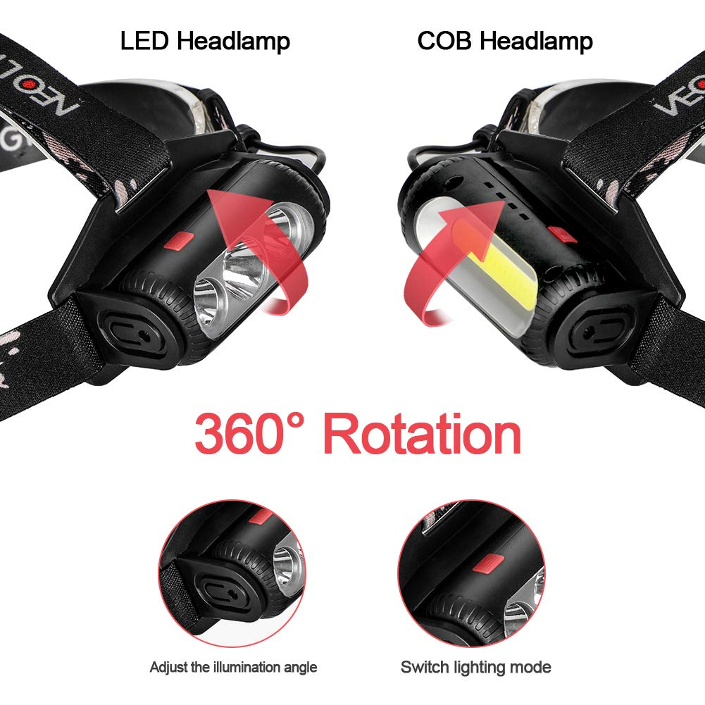 Laluztop Linterna Frontal Cabeza Recargable Alta Potencia Luz LED COB 2500 l/úmenes 8 Modos IPX4 con un Par de Bater/ía para Camping,Running,Caza,Luz de Emergencia Trabajo al Aire Libre