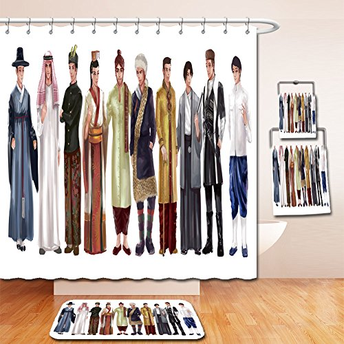Boys National Asian Costume For (Beshowereb Bath Suit: Showercurtain Bathrug Bathtowel Handtowel cartoon illustration of asian male man traditional religion and national costume dress clothing)