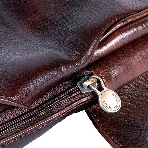 a becerro genuina Cuero cm 20x6 un Negro hecha mano de MICHELANGELO Italia piel en H35 Piel Hombro Bolsa Rojo wC5qIIY