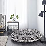 DARJII Black and White Pouf Cover Elephant Pouf Cover Round Hippie Pouf Cover Boho Living Bed Room Cushion Cover 32 Inch Floor Cushion Cover