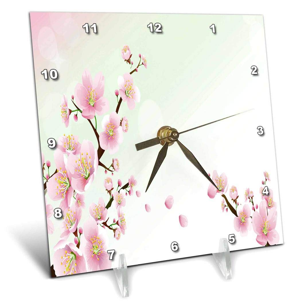 Desk Clock 3dRose 3D Rose Two Pretty Sprigs of Cherry Blossoms dc/_222425/_1 6 by 6-inch