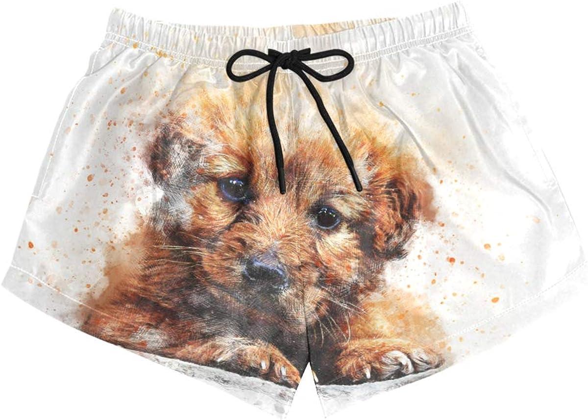 HEOEH Womens Baby Dog Art Painting Beach Shorts Pants Ladies Boardshort Swimming Trunks