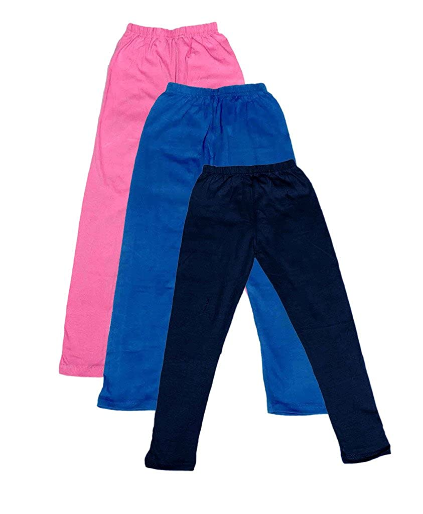 Pack of 3 -Multiple Colors-15-16 Years Indistar Big Girls Cotton Full Ankle Length Solid Leggings