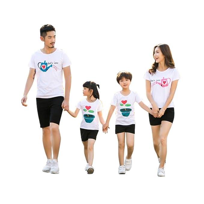 ESHOO Camiseta de Manga Corta de Verano emparejar Prendas de Ropa de la Familia de Madre Hija y Padre Hijo: Amazon.es: Ropa y accesorios