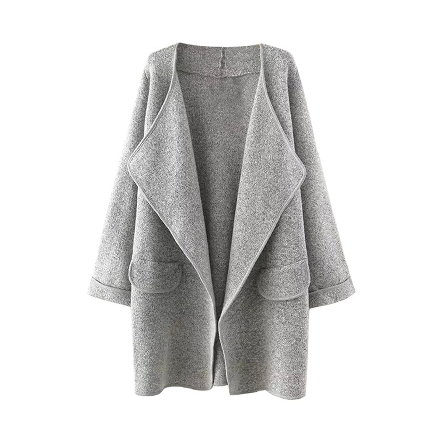 Arrowhunt Women's Solid Lapel Long Sleeve Loose Open Front Sweater ...