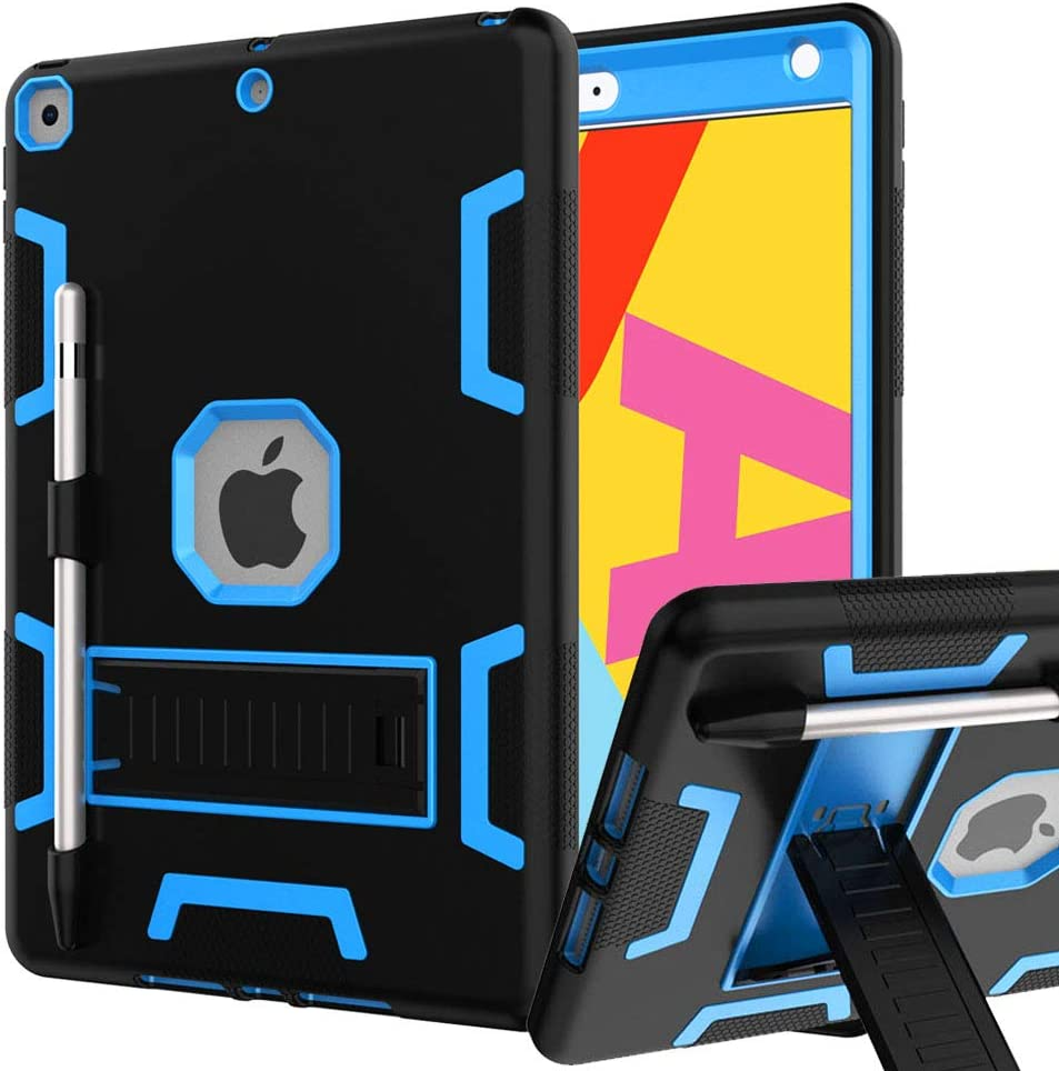 iPad 8th Generation Case, iPad 7th Generation Case, iPad 10.2 Case, Hybrid Shockproof Rugged Drop Protection Cover Built with Kickstandfor iPad 10.2 Inch 7th/8th Generation (Black+Blue)