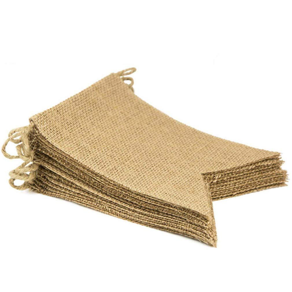 Gudelaa 20 pcs Burlap Banner, 36 Ft Triangle Flag for DIY Christmas Wedding Party Holiday Decoration 20pcs