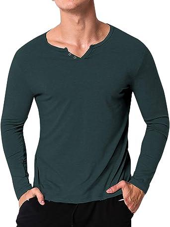personnalisé sélectionner pour plus récent vente discount MODCHOK Homme T-Shirt Manche Longue Col V Top Tee Pull Basic Coton Couleur  Unie