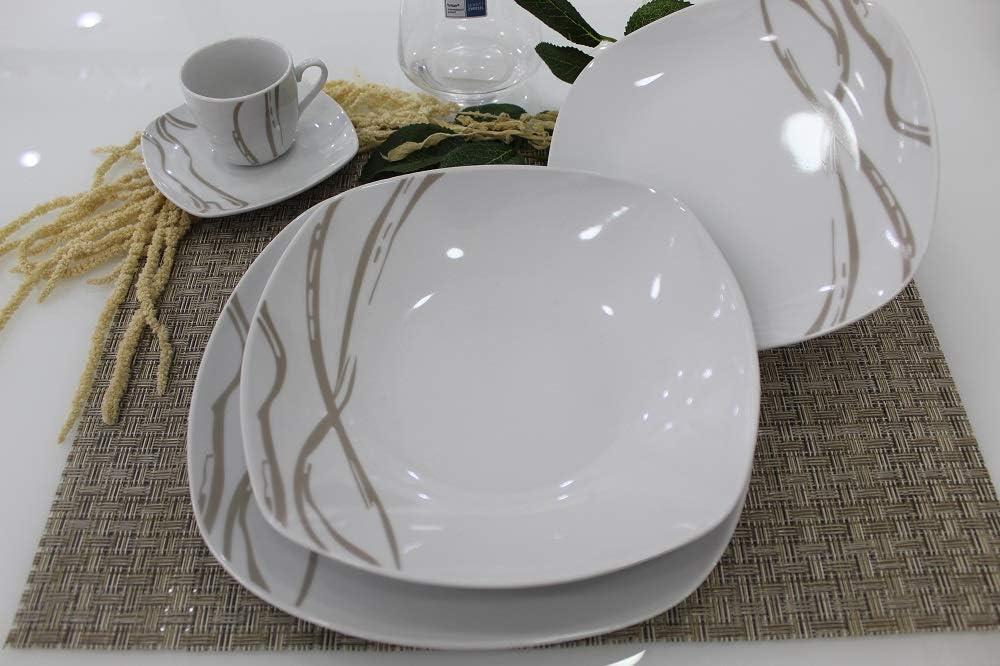 Pagano Home Servizio piatti porcellana 19 pezzi per 6 persone modello prings tortora