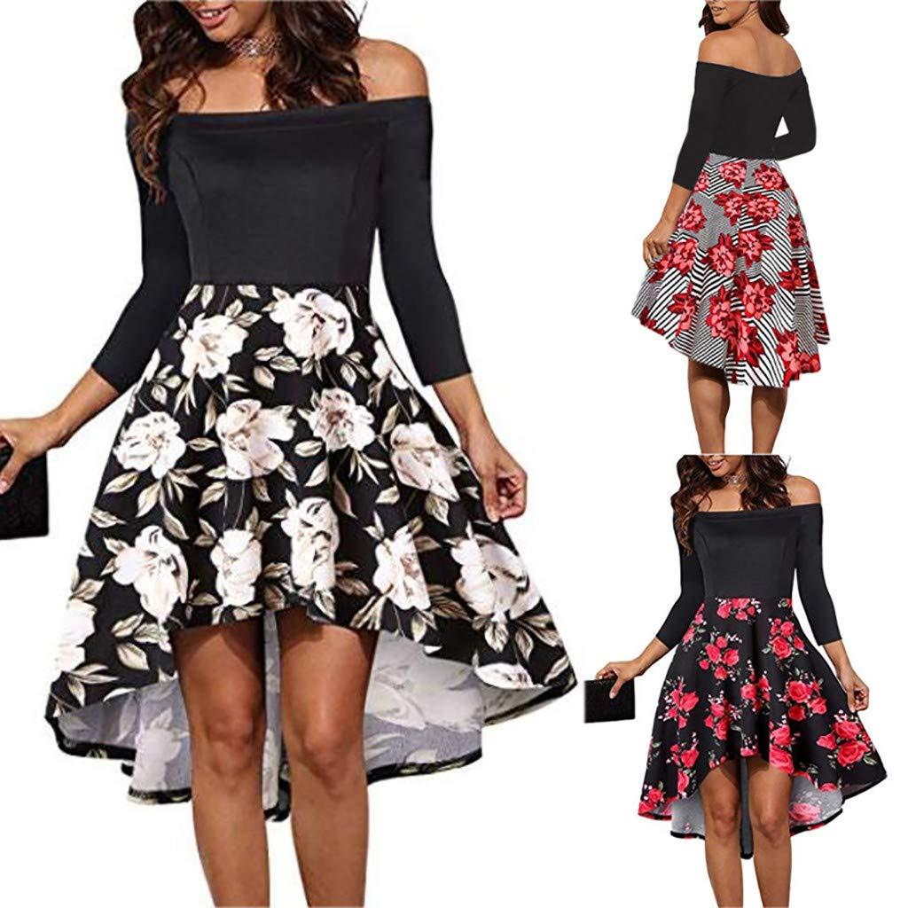 Amazon.com  CieKen Dress Women s Vintage Off Shoulder Floral Lace Boat Neck  Formal Cocktail Party Evening Dress  Clothing e1fe93edf