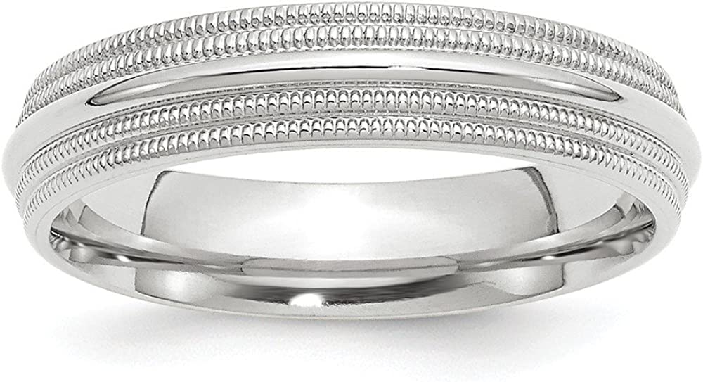 Solid 10k White Gold 5mm Double Milgrain Comfort Fit Wedding Band
