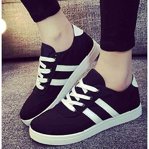 ZHZNVX Zapatos de Mujer Canvas Fall Comfort Sneakers Flat Heel Blanco/Negro Black