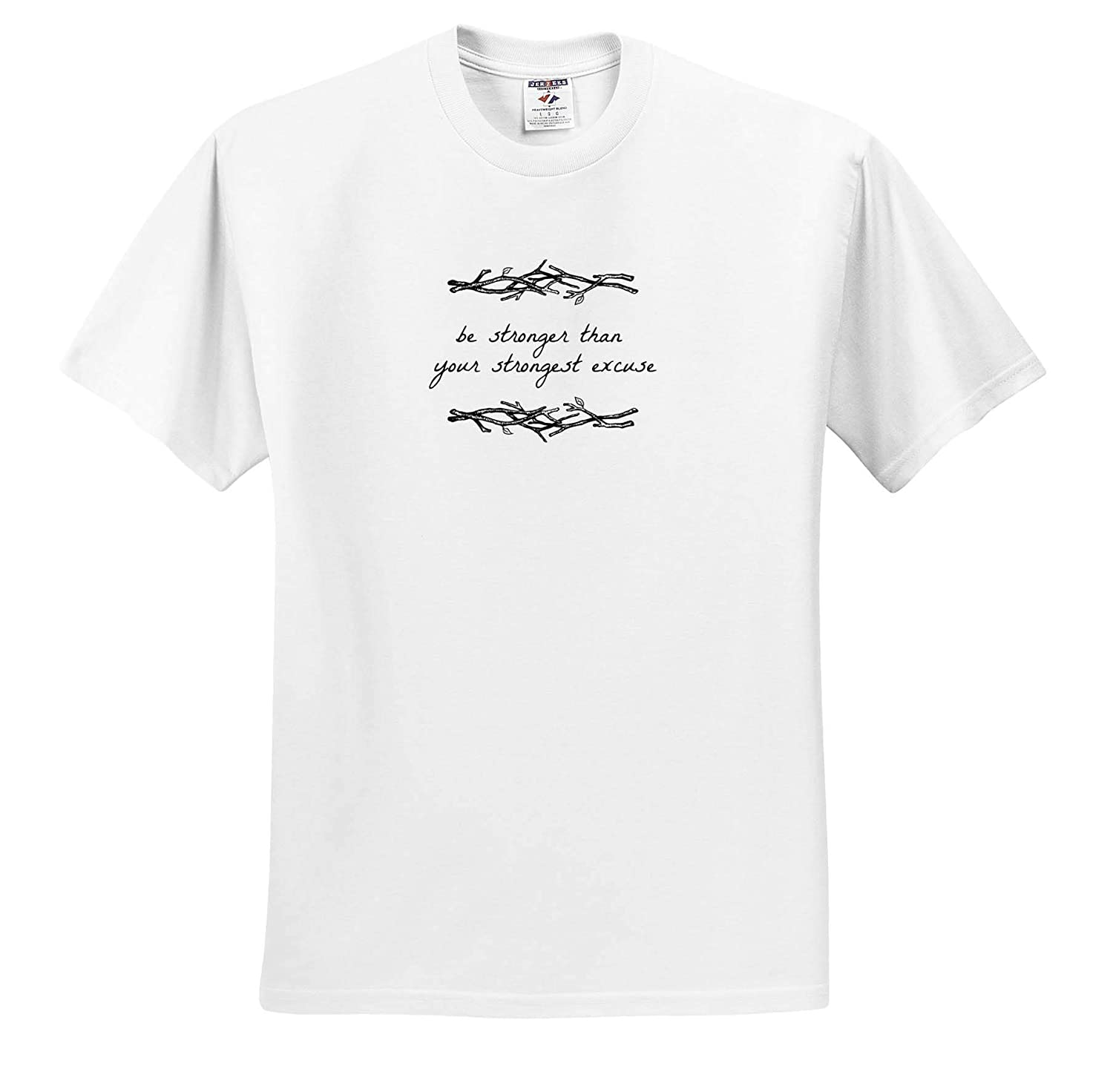 3dRose Nicole R Adult T-Shirt XL ts/_310897 Image of Be Stronger Than Your Strongest Excuse - Quote
