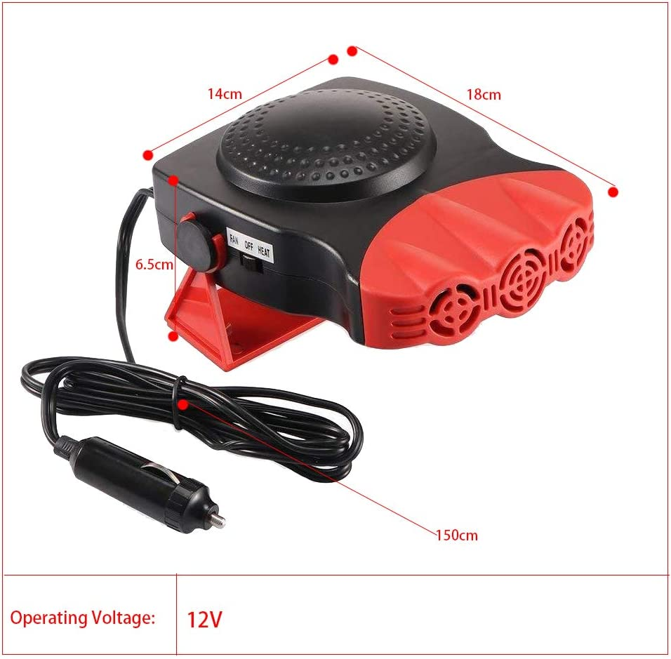 LTUPWF Portable Car Fan Heater 12V Car Defroster 150W Winter Car Heater Defogger Demister Fan with 1.5M Cable for vehicle windshield dehumidifier Demister Red