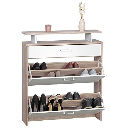 WOHNLING Schuhschrank MDF Sonoma Eiche 80 cm breit Schuhregal Design ...