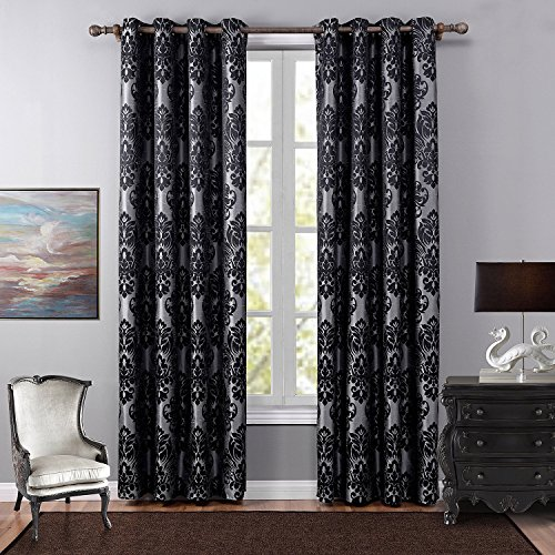 Leyden (1 Panel) Grommet Top European Luxurious Jacquard Blackout Curtain Panel for Bedroom( 52 wide x 63-inch length, Black) (Curtain Put To Where Rods)