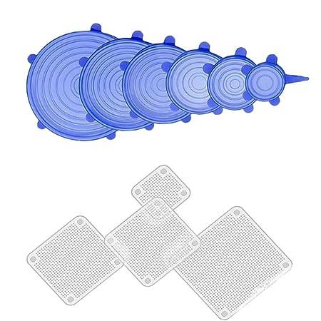Peloo 10 PCS Tapa Elástica de Silicona Reutilizable, Duradero y ...