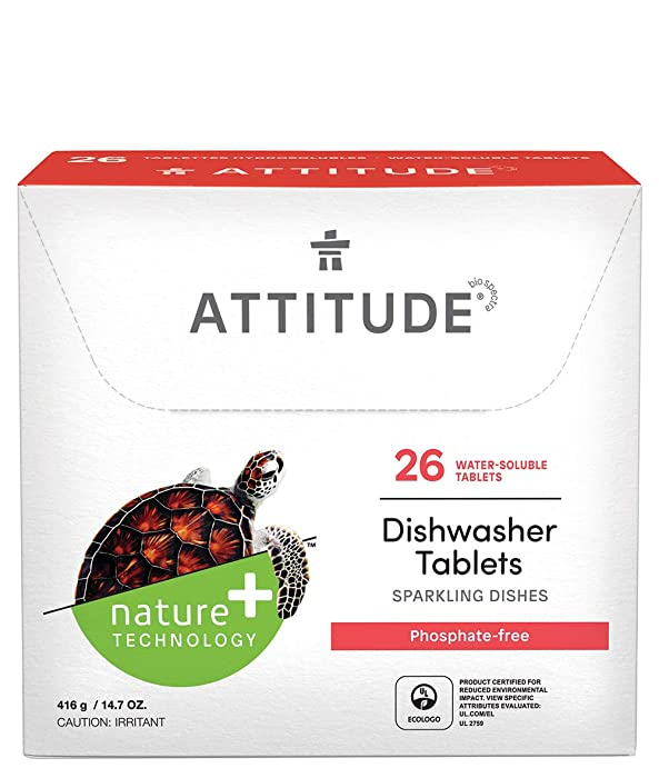 ATTITUDE Dishwasher Tablets, Natural, Phosphate-free, Vegan and Cruelty-free, Water Soluble, Sparkling Clean Dishes, 26 Count