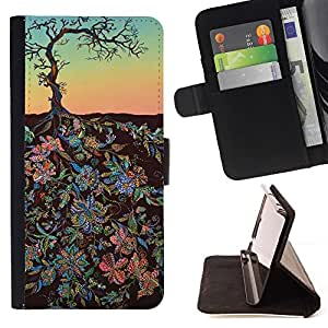 Momo Phone Case / Flip Funda de Cuero Case Cover - Flowers Art Painting Tree Sky - HTC Desire 626
